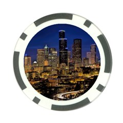 Skyline Downtown Seattle Cityscape Poker Chip Card Guard