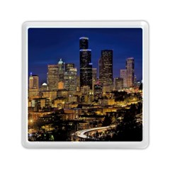 Skyline Downtown Seattle Cityscape Memory Card Reader (square)  by Simbadda