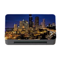 Skyline Downtown Seattle Cityscape Memory Card Reader With Cf by Simbadda