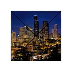 Skyline Downtown Seattle Cityscape Acrylic Tangram Puzzle (4  X 4 ) by Simbadda