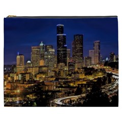 Skyline Downtown Seattle Cityscape Cosmetic Bag (xxxl)  by Simbadda