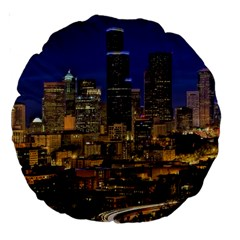 Skyline Downtown Seattle Cityscape Large 18  Premium Round Cushions by Simbadda
