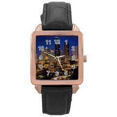 Skyline Downtown Seattle Cityscape Rose Gold Leather Watch