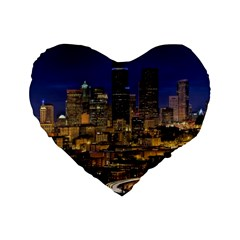 Skyline Downtown Seattle Cityscape Standard 16  Premium Flano Heart Shape Cushions by Simbadda