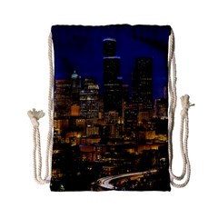 Skyline Downtown Seattle Cityscape Drawstring Bag (small)