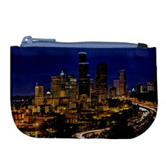 Skyline Downtown Seattle Cityscape Large Coin Purse by Simbadda