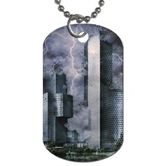 Digital Art City Cities Urban Dog Tag (two Sides)