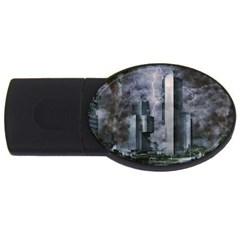 Digital Art City Cities Urban Usb Flash Drive Oval (4 Gb)