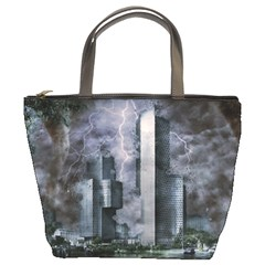 Digital Art City Cities Urban Bucket Bags