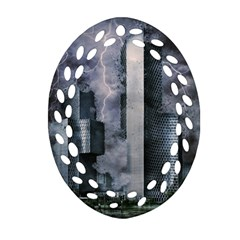 Digital Art City Cities Urban Oval Filigree Ornament (two Sides)