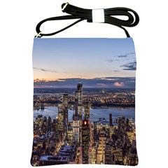 Panoramic City Water Travel Shoulder Sling Bags by Simbadda