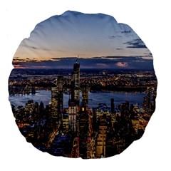 Panoramic City Water Travel Large 18  Premium Flano Round Cushions