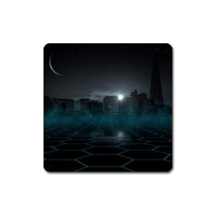 Skyline Night Star Sky Moon Sickle Square Magnet
