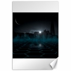 Skyline Night Star Sky Moon Sickle Canvas 24  X 36