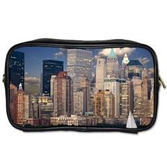 New York Skyline Manhattan Hudson Toiletries Bags by Simbadda