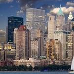 New York Skyline Manhattan Hudson Storage Stool 12   Left