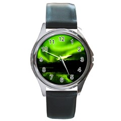 Aurora Borealis Northern Lights Sky Round Metal Watch by Simbadda