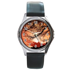 Tree Skyline Silhouette Sunset Round Metal Watch