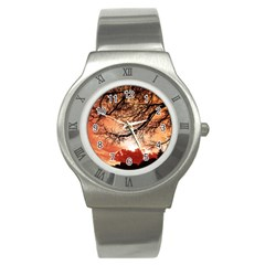Tree Skyline Silhouette Sunset Stainless Steel Watch