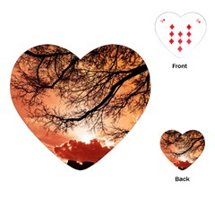 Tree Skyline Silhouette Sunset Playing Cards (heart)