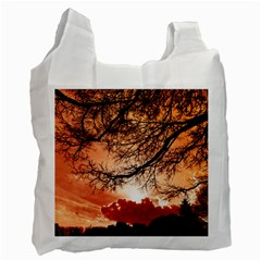 Tree Skyline Silhouette Sunset Recycle Bag (two Side)