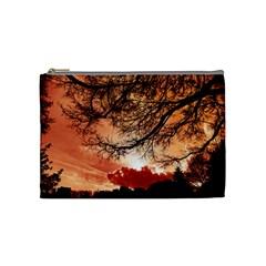 Tree Skyline Silhouette Sunset Cosmetic Bag (medium)