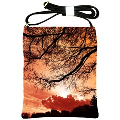 Tree Skyline Silhouette Sunset Shoulder Sling Bags by Simbadda