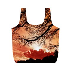 Tree Skyline Silhouette Sunset Full Print Recycle Bags (m)