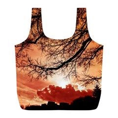 Tree Skyline Silhouette Sunset Full Print Recycle Bags (l)
