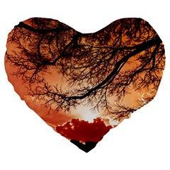 Tree Skyline Silhouette Sunset Large 19  Premium Flano Heart Shape Cushions