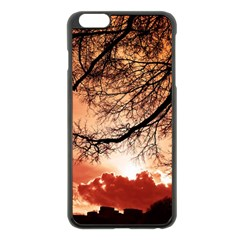 Tree Skyline Silhouette Sunset Apple Iphone 6 Plus/6s Plus Black Enamel Case