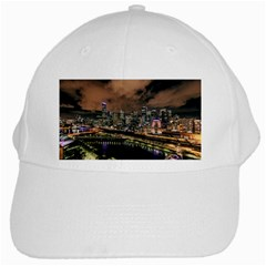 Cityscape Night Buildings White Cap