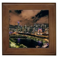 Cityscape Night Buildings Framed Tiles