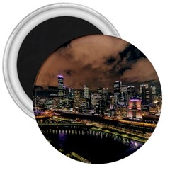 Cityscape Night Buildings 3  Magnets