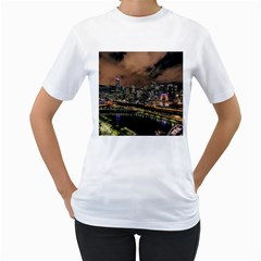 Cityscape Night Buildings Women s T Shirt (white) (two Sided)