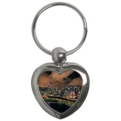 Cityscape Night Buildings Key Chains (heart)
