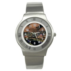 Cityscape Night Buildings Stainless Steel Watch
