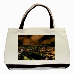 Cityscape Night Buildings Basic Tote Bag