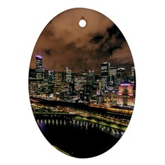 Cityscape Night Buildings Oval Ornament (two Sides)