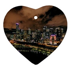 Cityscape Night Buildings Heart Ornament (two Sides)
