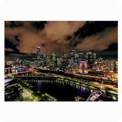 Cityscape Night Buildings Large Glasses Cloth (2 Side)