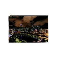 Cityscape Night Buildings Cosmetic Bag (medium)