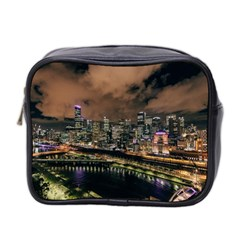 Cityscape Night Buildings Mini Toiletries Bag 2 Side