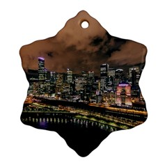 Cityscape Night Buildings Snowflake Ornament (two Sides)