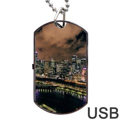 Cityscape Night Buildings Dog Tag Usb Flash (one Side)