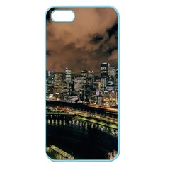Cityscape Night Buildings Apple Seamless Iphone 5 Case (color)