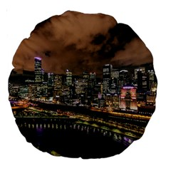 Cityscape Night Buildings Large 18  Premium Round Cushions by Simbadda