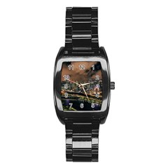 Cityscape Night Buildings Stainless Steel Barrel Watch