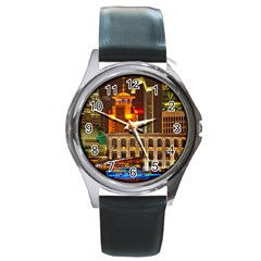 Shanghai Skyline Architecture Round Metal Watch
