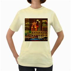 Shanghai Skyline Architecture Women s Yellow T Shirt